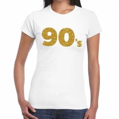 90's goud fun t-shirt wit voor dames