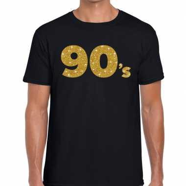 90's gouden letters fun t-shirt zwart voor heren