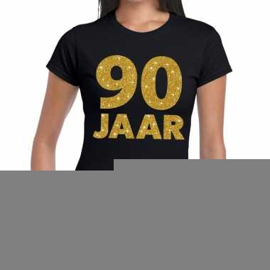 90e verjaardag cadeau t-shirt zwart met goud voor dames