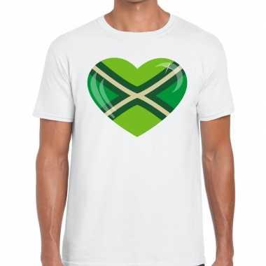 Achterhoek t-shirt met hart bedrukking wit voor heren