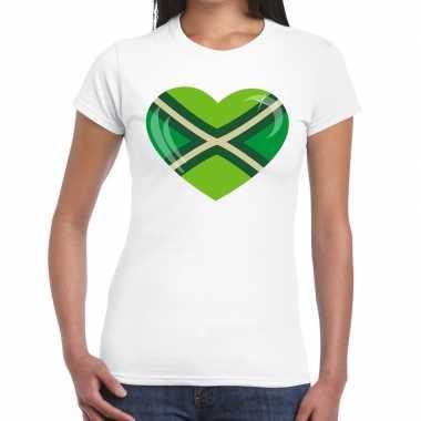 Achterhoeks t-shirt met hart bedrukking wit voor dames
