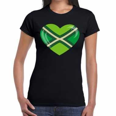 Achterhoeks t-shirt met hart bedrukking zwart voor dames