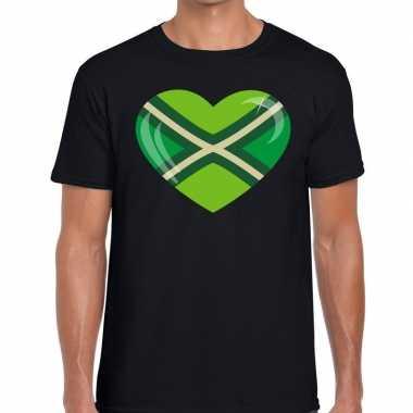 Achterhoeks t-shirt met hart bedrukking zwart voor heren