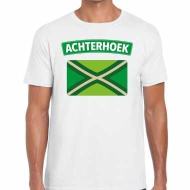 Achterhoeks t-shirt met vlag bedrukking wit voor heren
