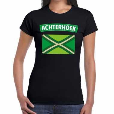 Achterhoeks t-shirt met vlag bedrukking zwart voor dames