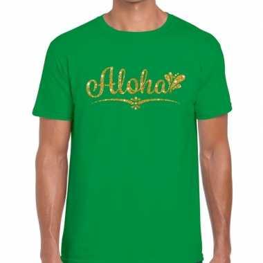 Aloha fun hawaii t-shirt groen voor heren