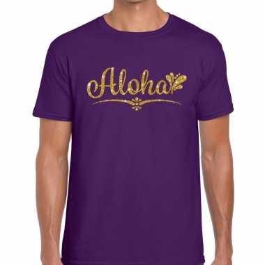 Aloha fun hawaii t-shirt paars voor heren