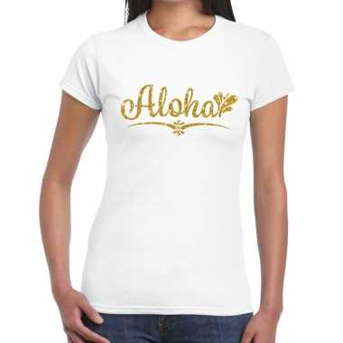 Aloha goud fun t-shirt wit voor dames