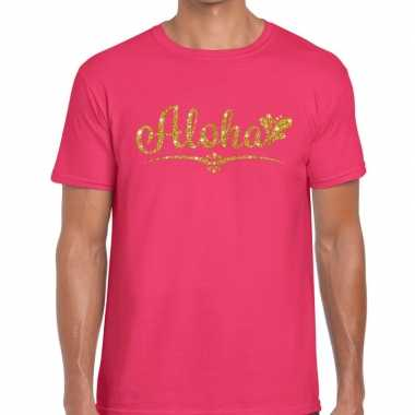 Aloha goud glitter hawaii fun t-shirt roze voor heren