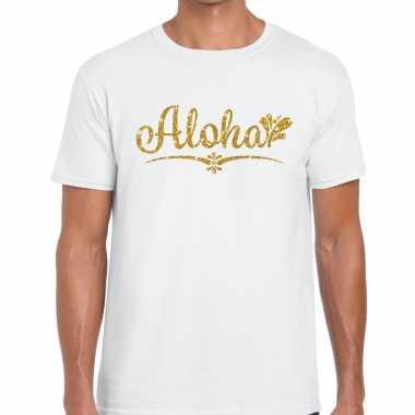 Aloha goud letters fun t-shirt wit voor heren