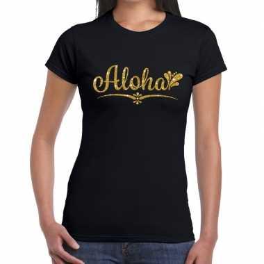 Aloha gouden letters fun t-shirt zwart voor dames