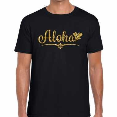 Aloha gouden letters fun t-shirt zwart voor heren