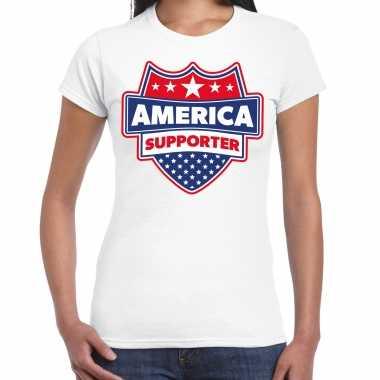 Amerika / america supporter t-shirt wit voor dames
