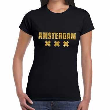 Amsterdam gouden letters fun t-shirt zwart voor dames