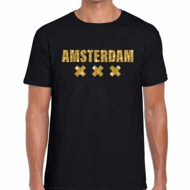 Amsterdam gouden letters fun t-shirt zwart voor heren