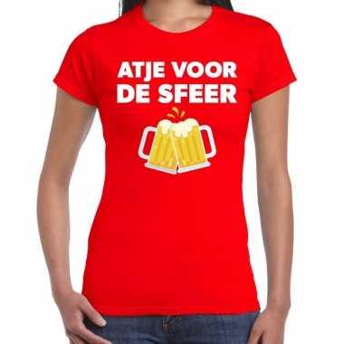 Atje voor de sfeer fun t-shirt rood voor dames