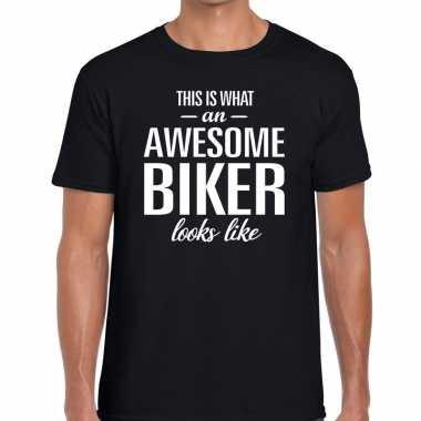 Awesome biker fun t-shirt zwart voor heren - bedankt cadeau voor een