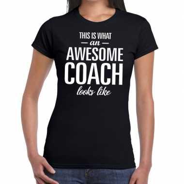 Awesome coach fun t-shirt zwart voor dames