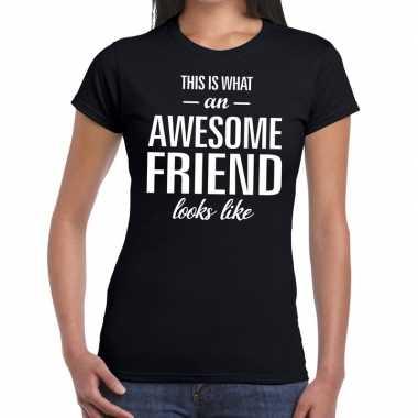 Awesome friend kado t-shirt zwart voor dames