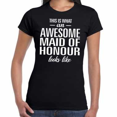 Awesome maid of honour kado t-shirt zwart voor dames