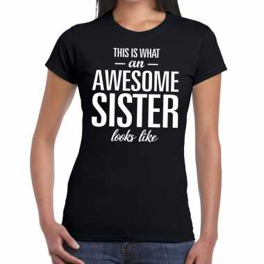 Awesome sister fun t-shirt zwart voor dames