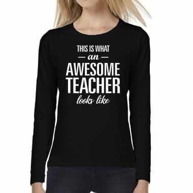 Awesome teacher cadeau t-shirt long sleeve zwart voor voor dames