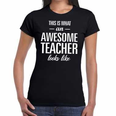 Awesome teacher fun t-shirt zwart voor dames