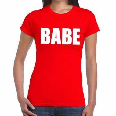 Babe fun t-shirt rood voor dames