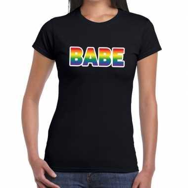 Babe gay pride tekst/fun shirt zwart dames