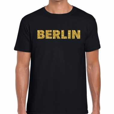 Berlin gouden letters fun t-shirt zwart voor heren