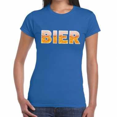 Bier fun t-shirt blauw voor dames