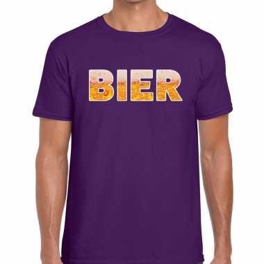 Bier fun t-shirt paars voor heren