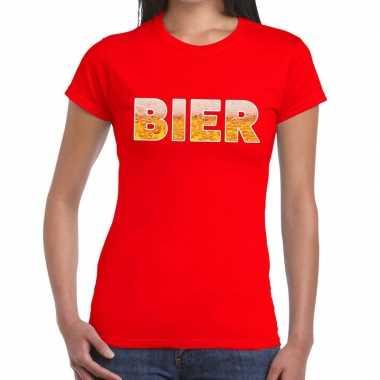 Bier fun t-shirt rood voor dames
