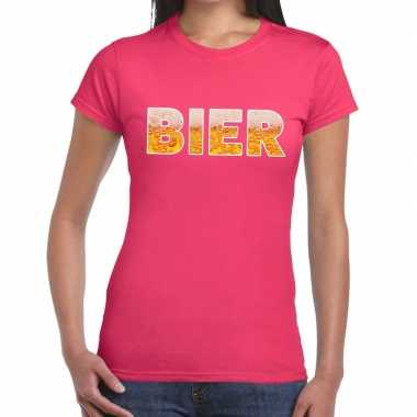 Bier fun t-shirt roze voor dames