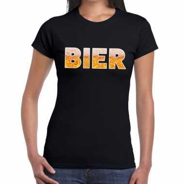 Bier fun t-shirt zwart voor dames