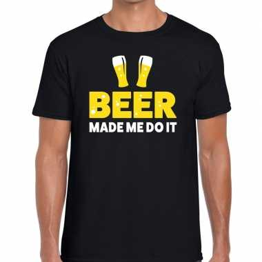 Bier tekst shirt beer made me do it zwart voor heren