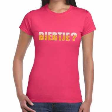 Biertje fun t-shirt roze voor dames