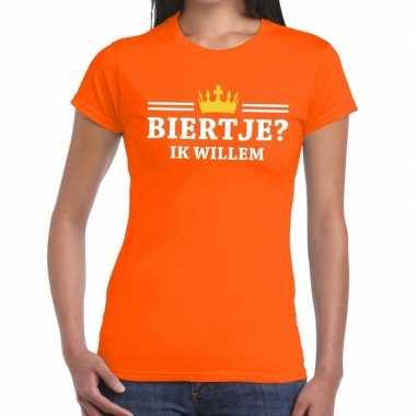 Biertje ik willem shirt oranje dames
