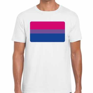Bisexueel vlag gay pride shirt wit heren
