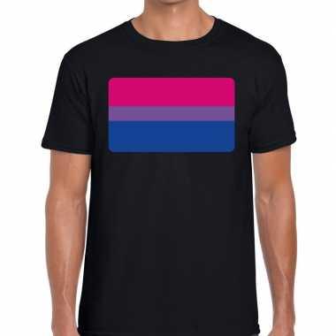 Bisexueel vlag gaypride shirt zwart heren