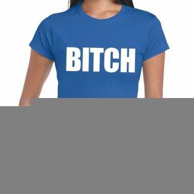 Bitch fun t-shirt blauw voor dames
