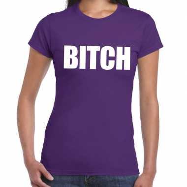 Bitch fun t-shirt paars voor dames