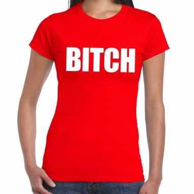 Bitch fun t-shirt rood voor dames