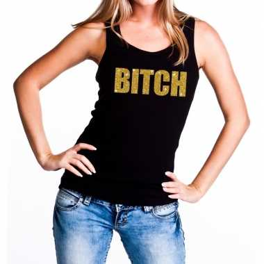 Bitch fun tanktop / mouwloos shirt zwart voor dames