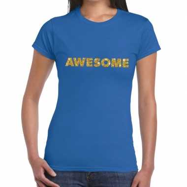 Blauw awesome goud fun t-shirt voor dames