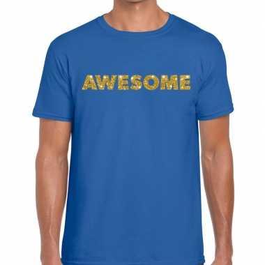Blauw awesome goud fun t-shirt voor heren