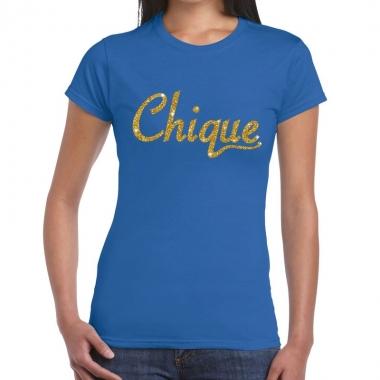 Blauw chique goud fun t-shirt voor dames