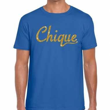 Blauw chique goud fun t-shirt voor heren