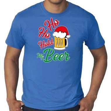 Blauw kerst shirt / kerstkleding ho ho hold my beer voor heren grote maten