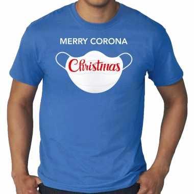 Blauw kerst shirt/ kerstkleding merry corona christmas voor heren grote maten